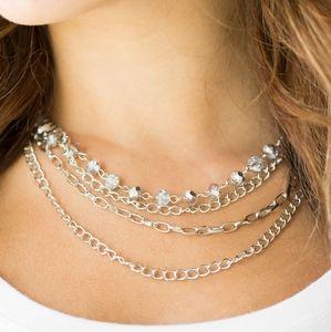 Paparazzi Extravagant Elegance Silver Necklace Set